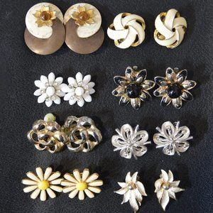 FIRM:  8 Sets of Floral Vtg 1950s Clip On Earrings